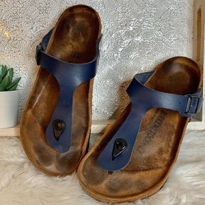 Birkenstock Gizeh Vegan Leather Navy Blue SZ 39